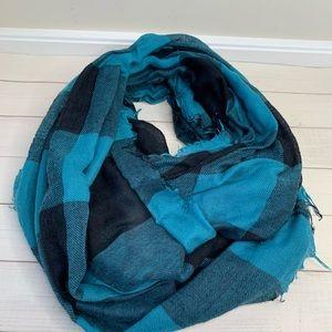Black and teal buffalo plaid infinity scarf